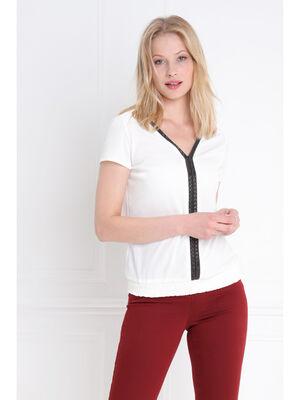 T shirt manches courtes col V ivoire femme