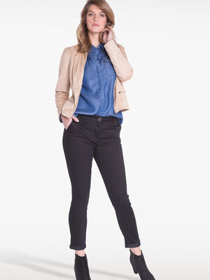 Pantalon 78eme ajuste a revers noir femme