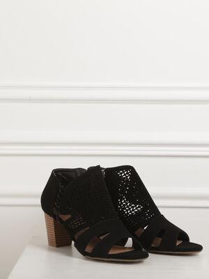 Sandales ajourees talon carre noir femme