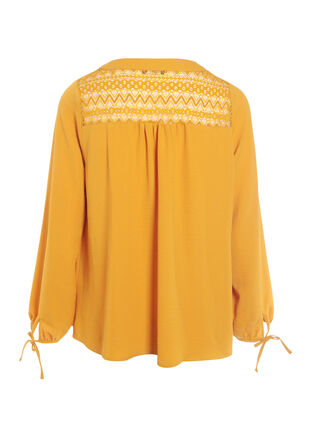 Blouse manches longues nouees jaune or femme