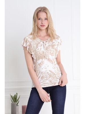 T shirt sans manches volants et lacage camel femme