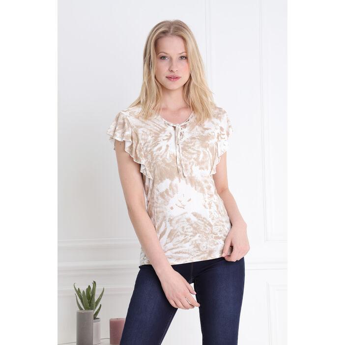 T-shirt sans manches volants et laçage camel femme