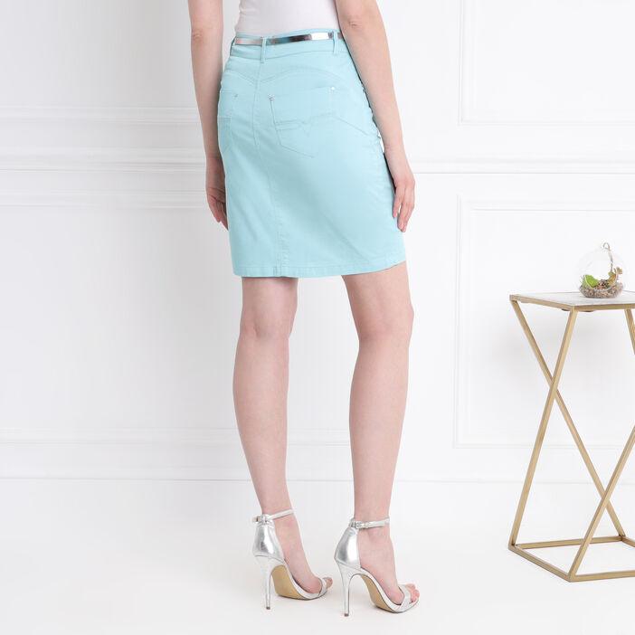 Jupe droite ceinture irisée vert émeraude femme