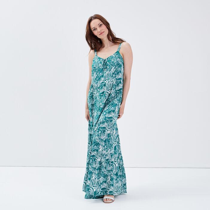 Robe longue évasée vert femme