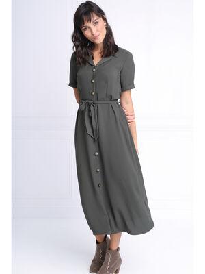 Robe chemise longue a ceinture vert kaki femme