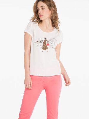 T shirt imprime Lady Waxy ecru femme