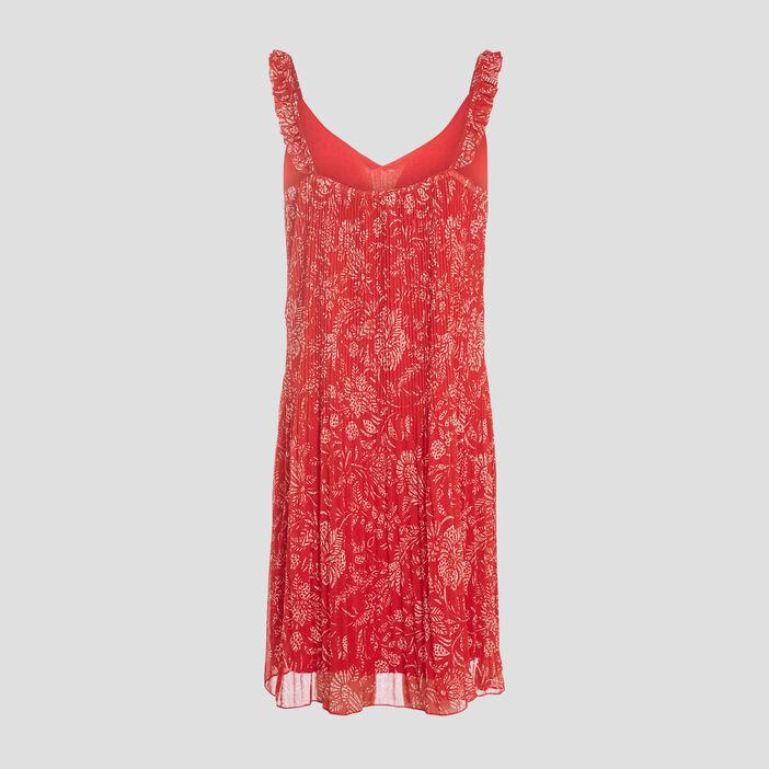 Robe droite plissée rouge femme
