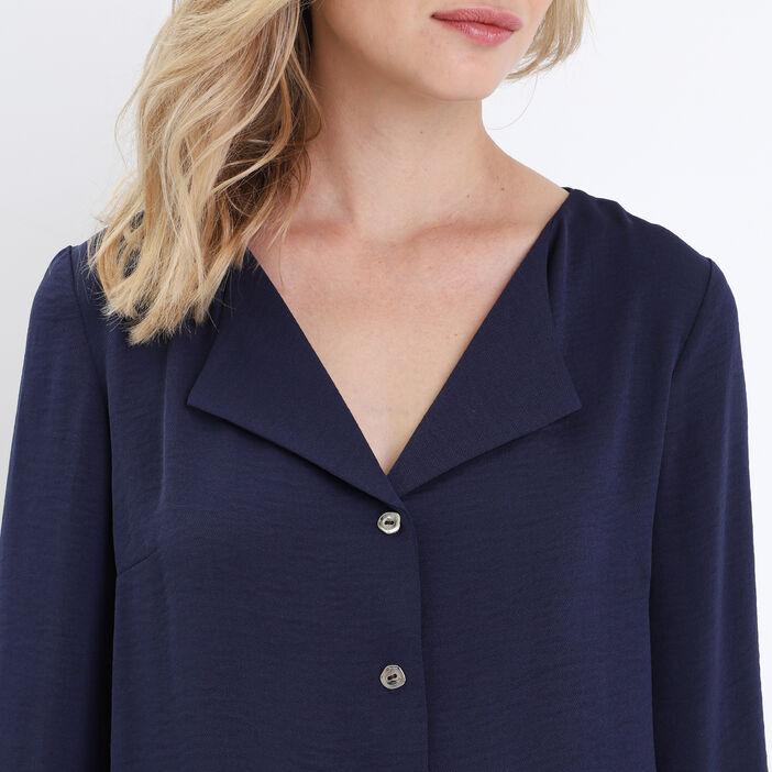Chemise manches 3/4 bleu marine femme