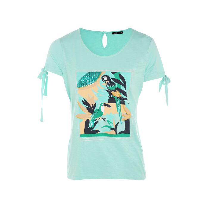 T-shirt manches courtes avec noeuds vert menthe femme