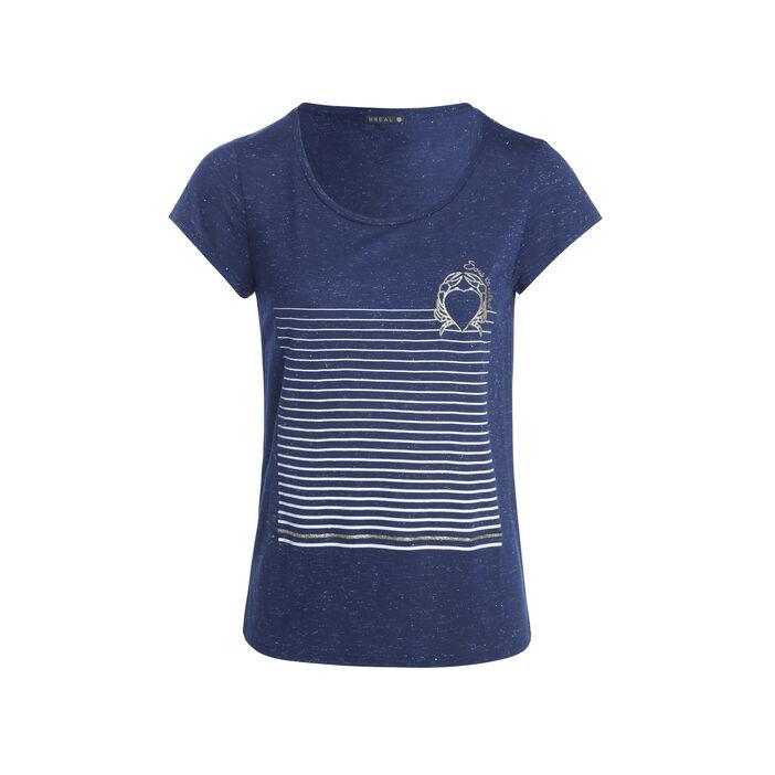 T-shirt manches courtes motif bleu foncé femme