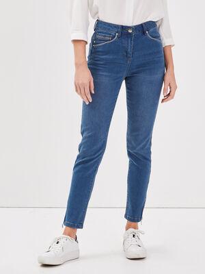 Jeans ajuste taille haute denim double stone femme