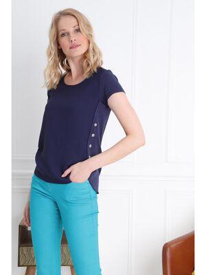 T shirt manche courte bimatiere bleu femme