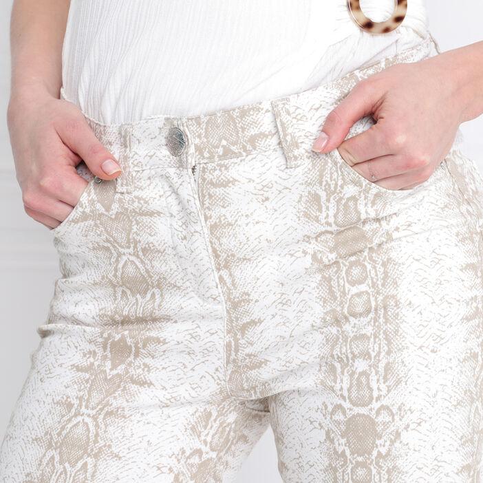 Pantalon taille standard ecru femme