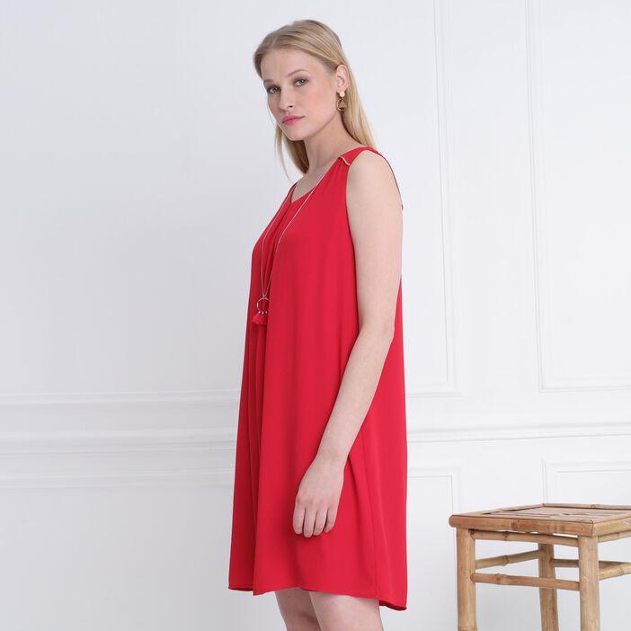 Robe courte détail bijoux rouge femme