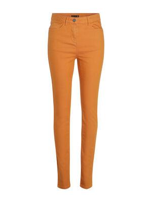 Pantalon ajuste taille haute jaune moutarde femme