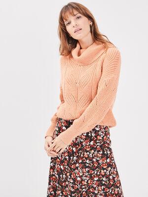 Pull manches longues orange clair femme