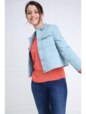 Veste courte double poches vert fonce femme