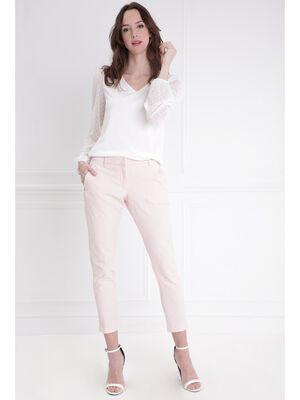 Pantalon ajuste jacquard rose poudree femme