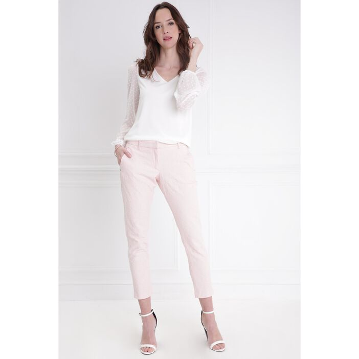 Pantalon taille standard rose poudrée femme