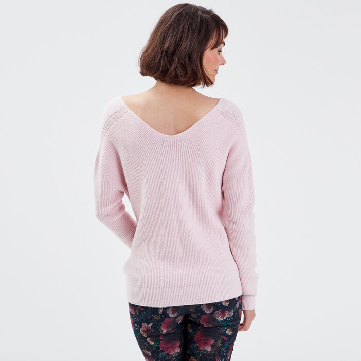 Pull manches longues rose pastel femme