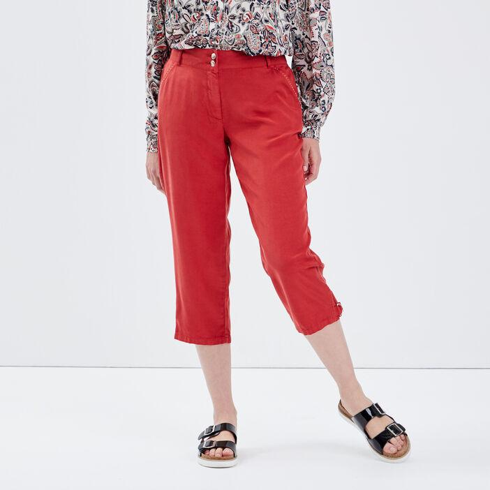 Pantacourt ample taille standard rouge foncé femme