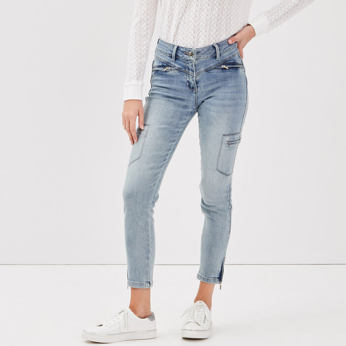 Jeans ajusté taille basculée denim double stone femme