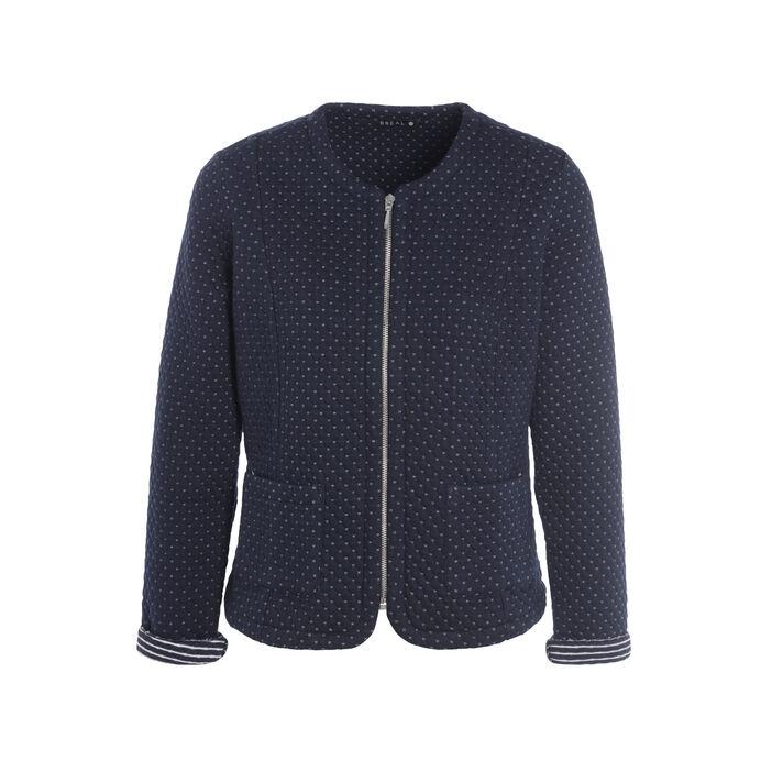Veste ajustée courte zippée bleu marine femme