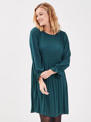 Robe droite plissee vert canard femme
