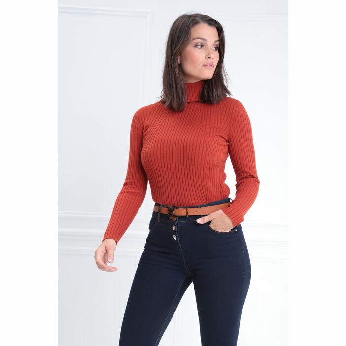 Pull manches longues col roulé rouge femme