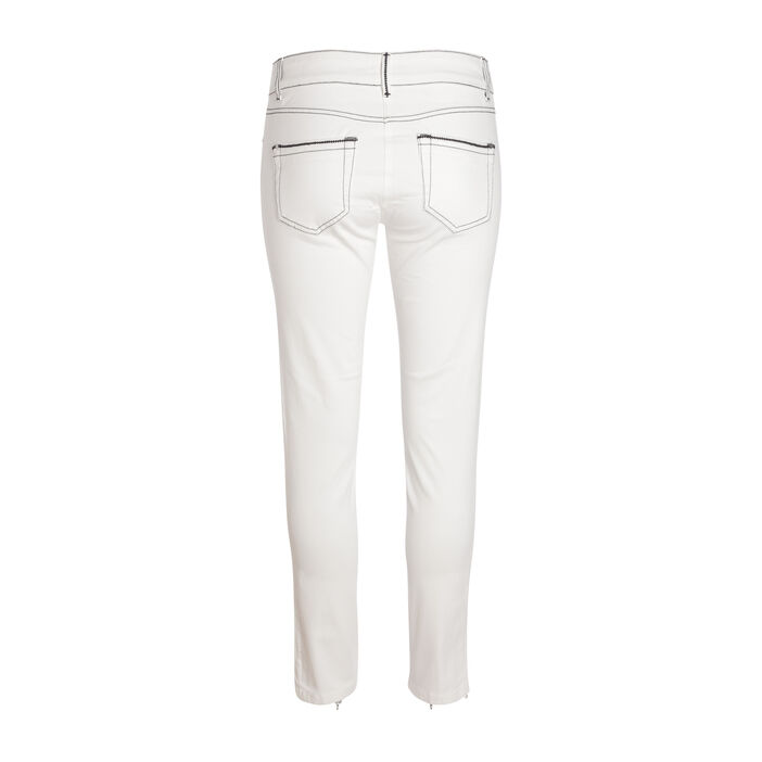 Pantalon ajusté 5 poches ecru femme