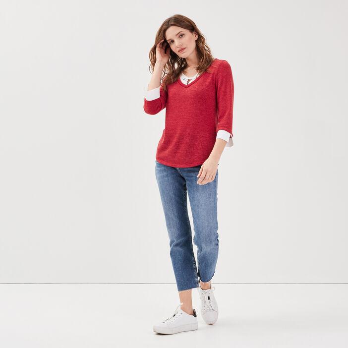 T-shirt manches 3/4 2-en-1 bordeaux femme