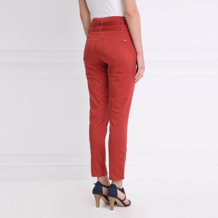 Pantalon chic avec double ceinture orange foncé femme