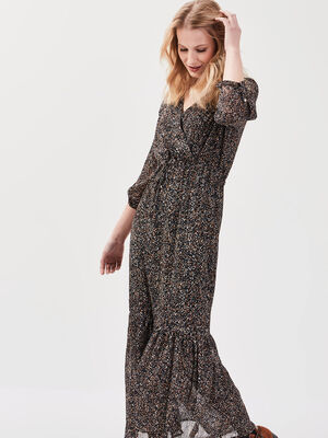 Robe longue evasee a volants noir femme