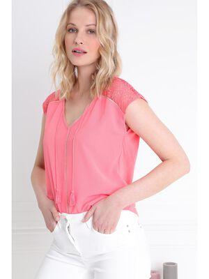 T shirt manches courte bimatiere orange corail femme
