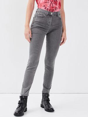 Pantalon leger toucher doux denim gris femme