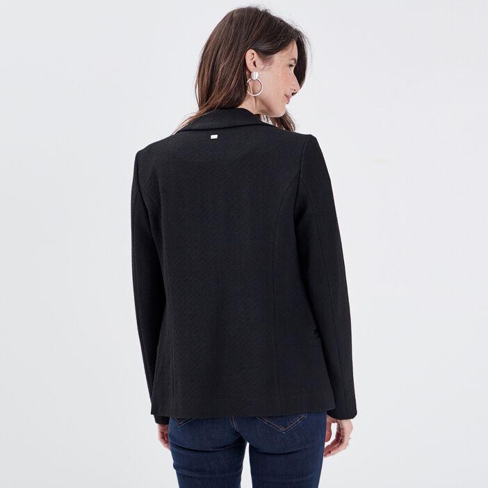Veste droite avec boutons noir femme