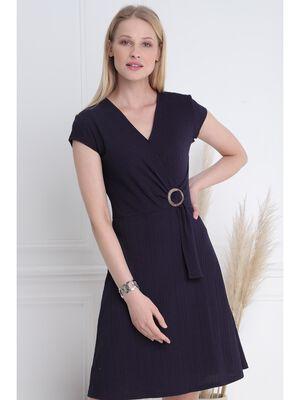 Robe courte droite a boucle bleu fonce femme