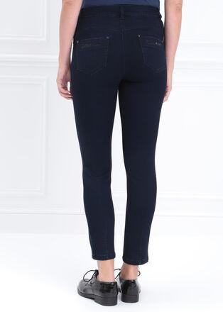Jeans ajuste a strass taille standard denim brut femme