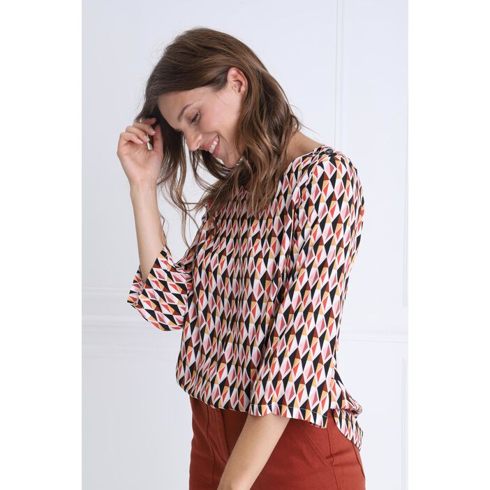 Blouse manches 3/4 col rond multicolore femme
