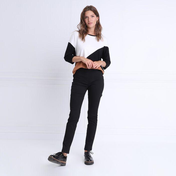 T-shirt manches 3/4 col rond noir femme