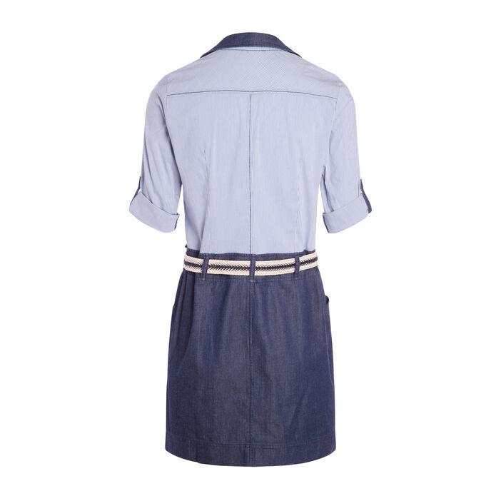 Robe 2 en 1 haut chemise denim stone femme