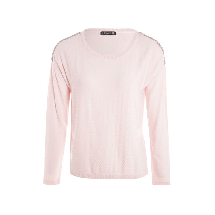 Pull manches longues strass rose poudrée femme