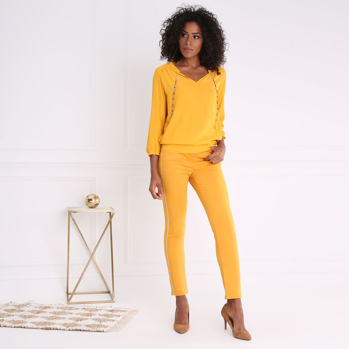 Pantalon uni à bandes latérales jaune or femme