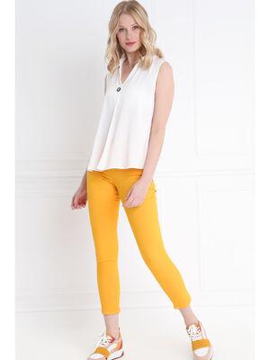 Pantalon leger toucher doux orange clair femme