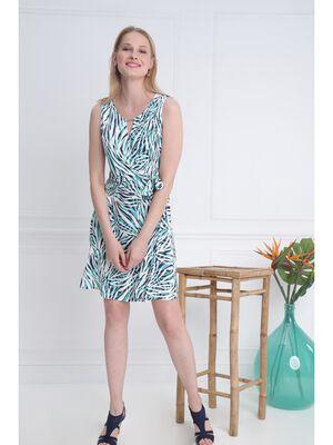 Robe imprime maille vert turquoise femme