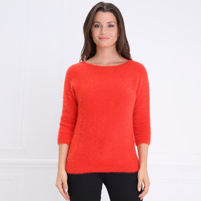 Pull col rond manches 3/4 rouge femme