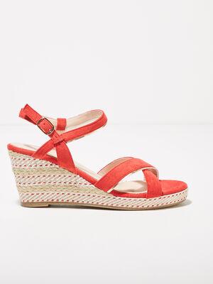 Sandales a talons compenses rouge femme