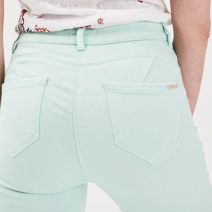 Pantalon ajusté taille haute vert clair femme