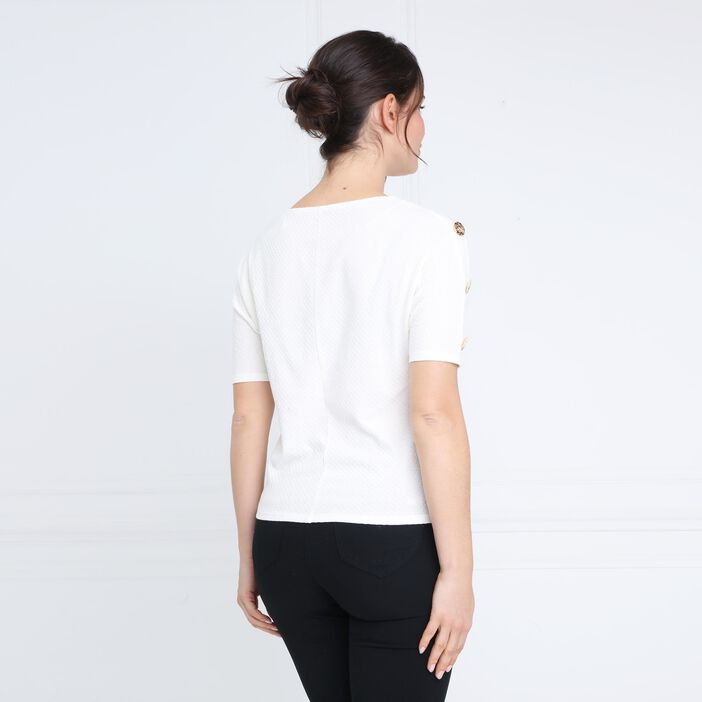 T-shirt manches courtes détails boutons ecru femme
