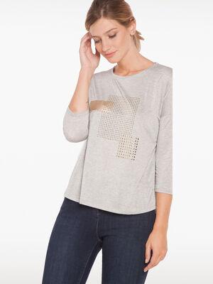 T shirt studs en metal dore gris fonce femme